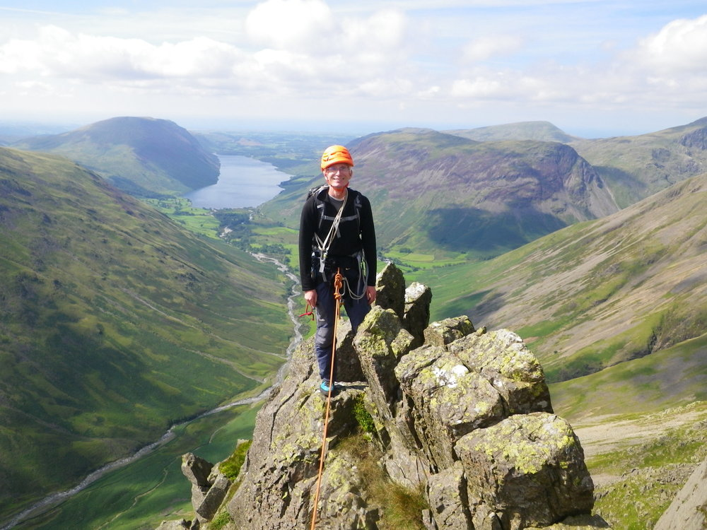 August: rock climbing on Needle Ridge in the Lake District