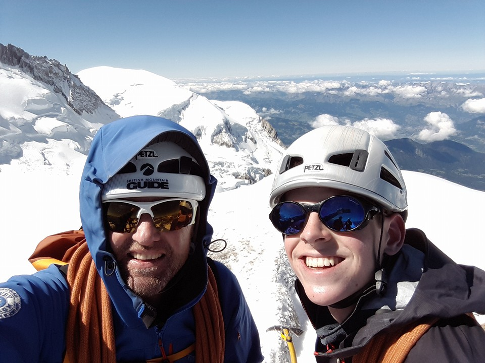 September: guiding on Mont Blanc du Tacul in the Alps