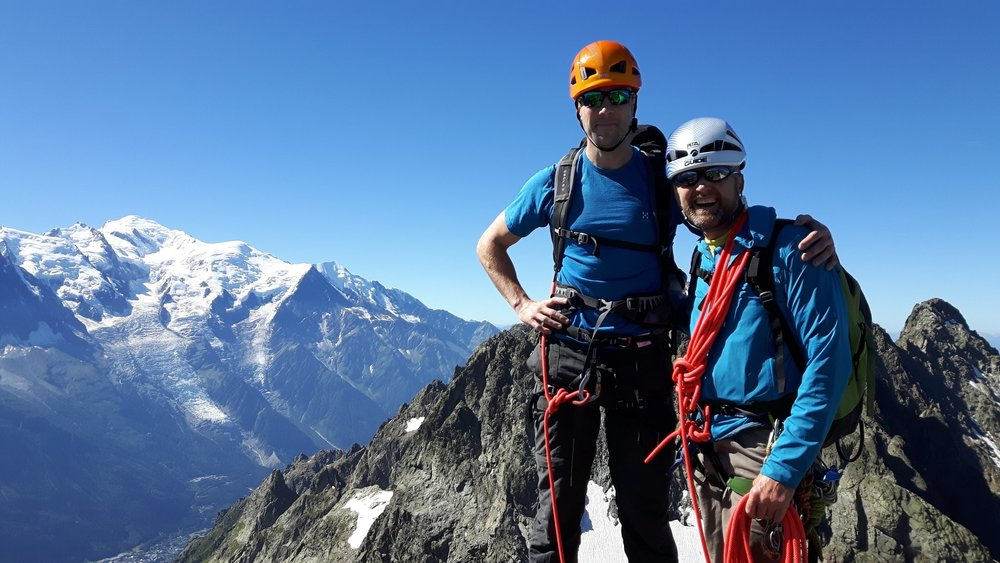 On the Aiguille des Crochues with Mont Blanc in the background