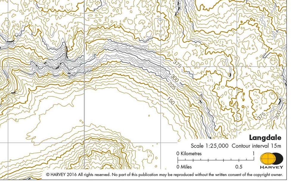 Contour only map reproduced with permission from Harveys