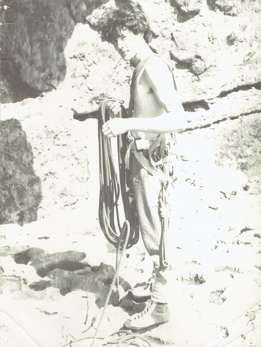 Climbing at Swanage, aged about 16