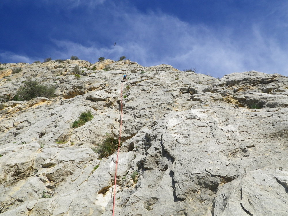 Sport climbing in Spain using a single rope