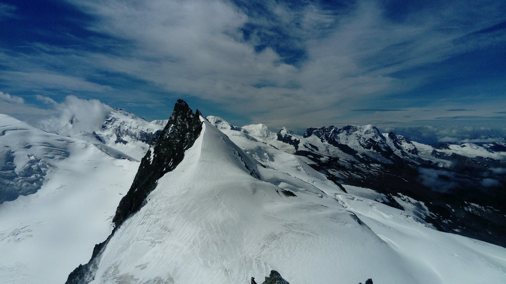 The Rimpfischhorn from the summit of the Allalinhorn