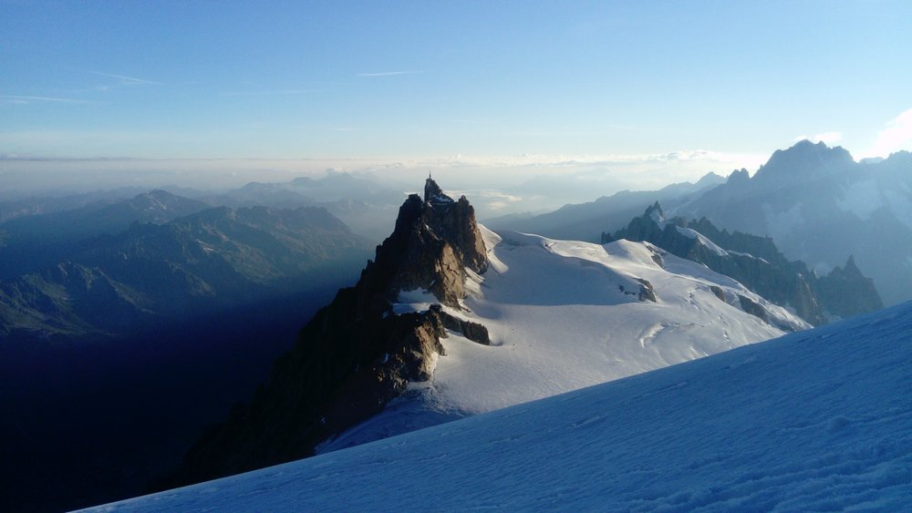 The Aiguille du Midi from the shoulder of Mont Blanc du Tacul