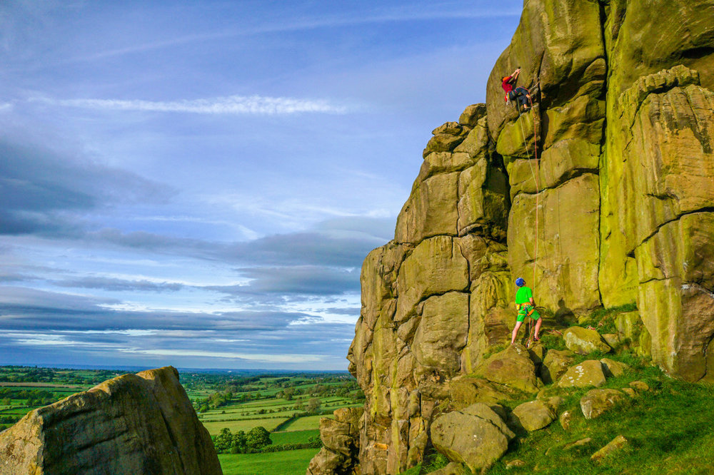 Evening cragging at Almscliff. Yorkshire