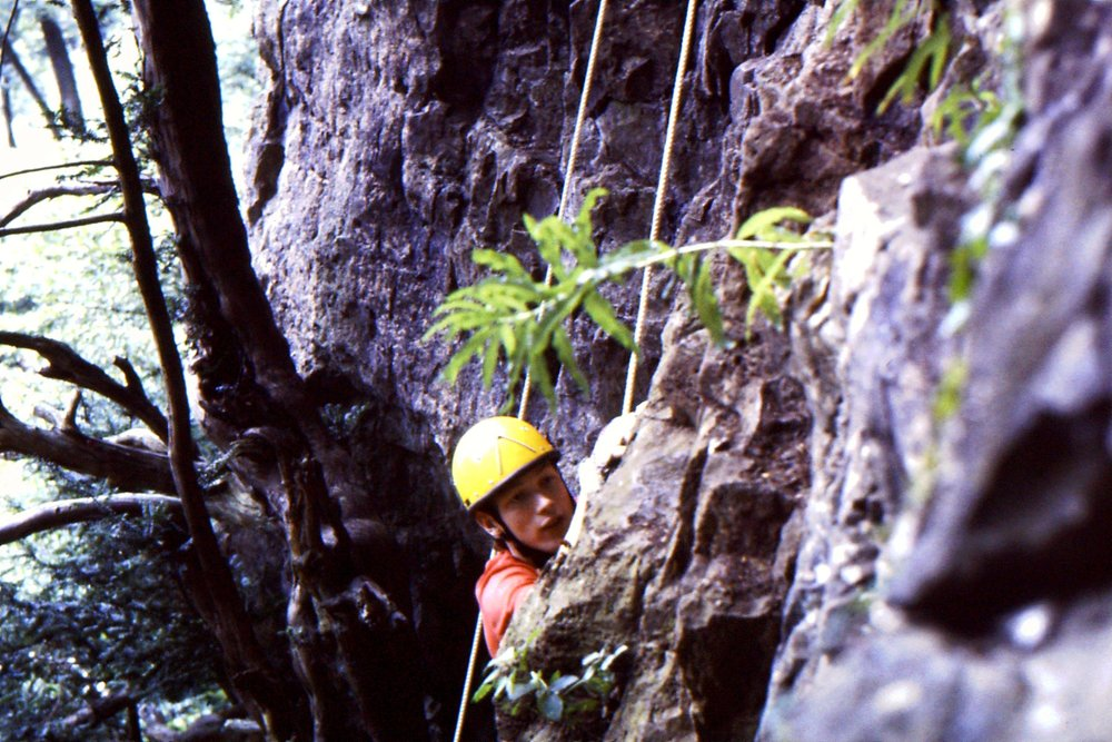 Climbing at Symonds Yat with Venture Scouts, aged 18