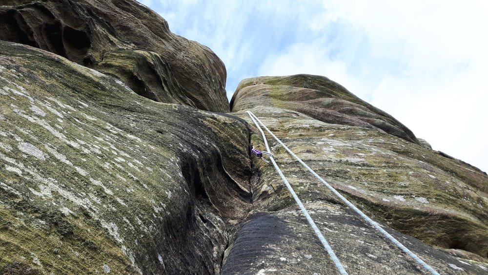 February: cragging with friends at Brimham Rocks, North Yorkshire
