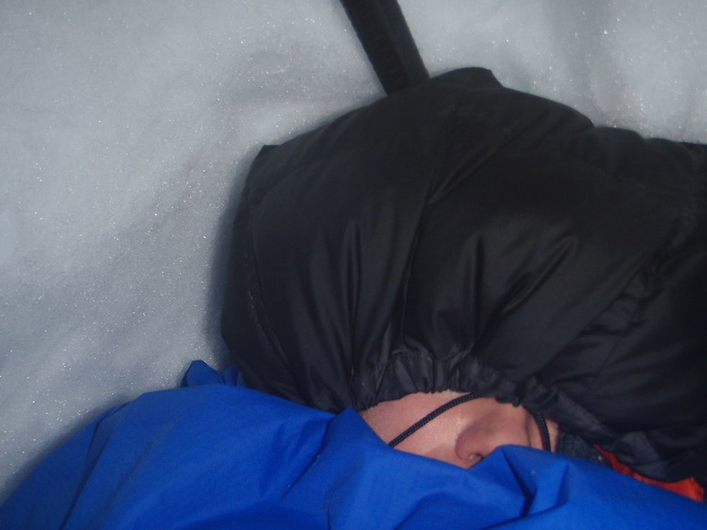Richard keeping snug in his sleeping bag with Pertex cover
