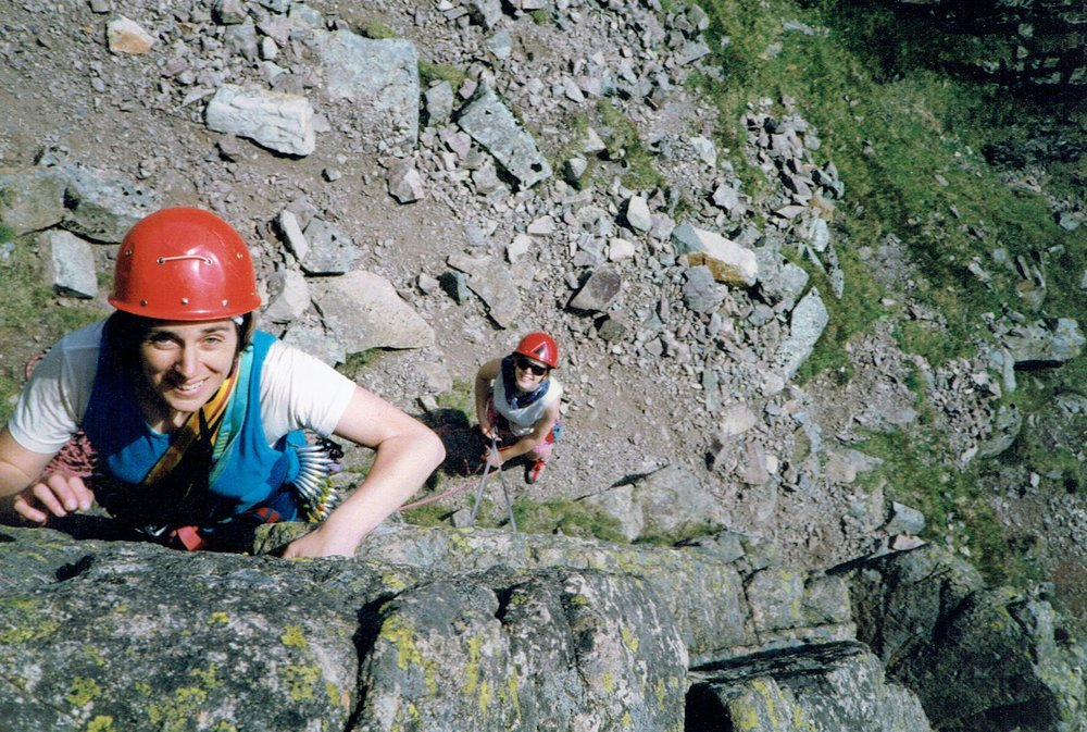 Anne belaying on a Rock Improvers course in the Lake District, 1993 or 1994