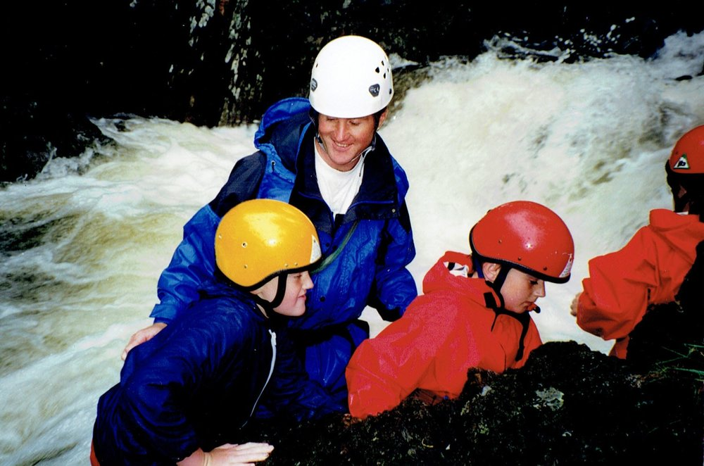 Chris ghyll scrambling with a school group, c.1994