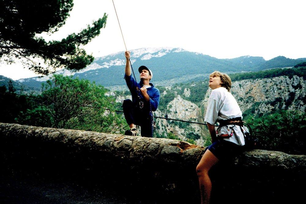 Roadside belaying in Majorca, 1998