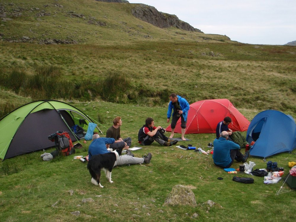 Mountain leader training candidates relaxing at their camp