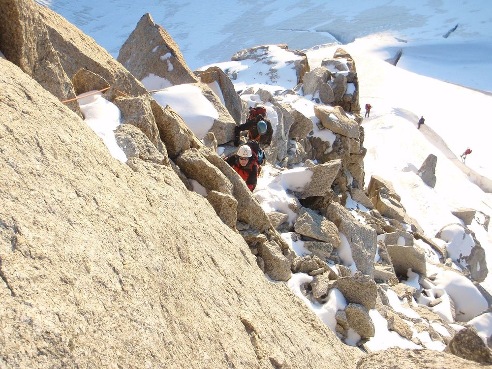 Climbing on the Tete Blanche from the Trient plateau