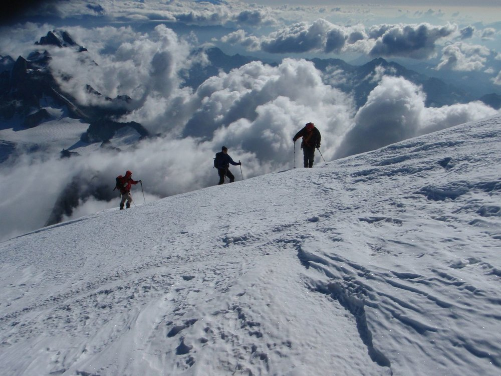 Looking towards Italy on the approach to the summit of Mont Blanc