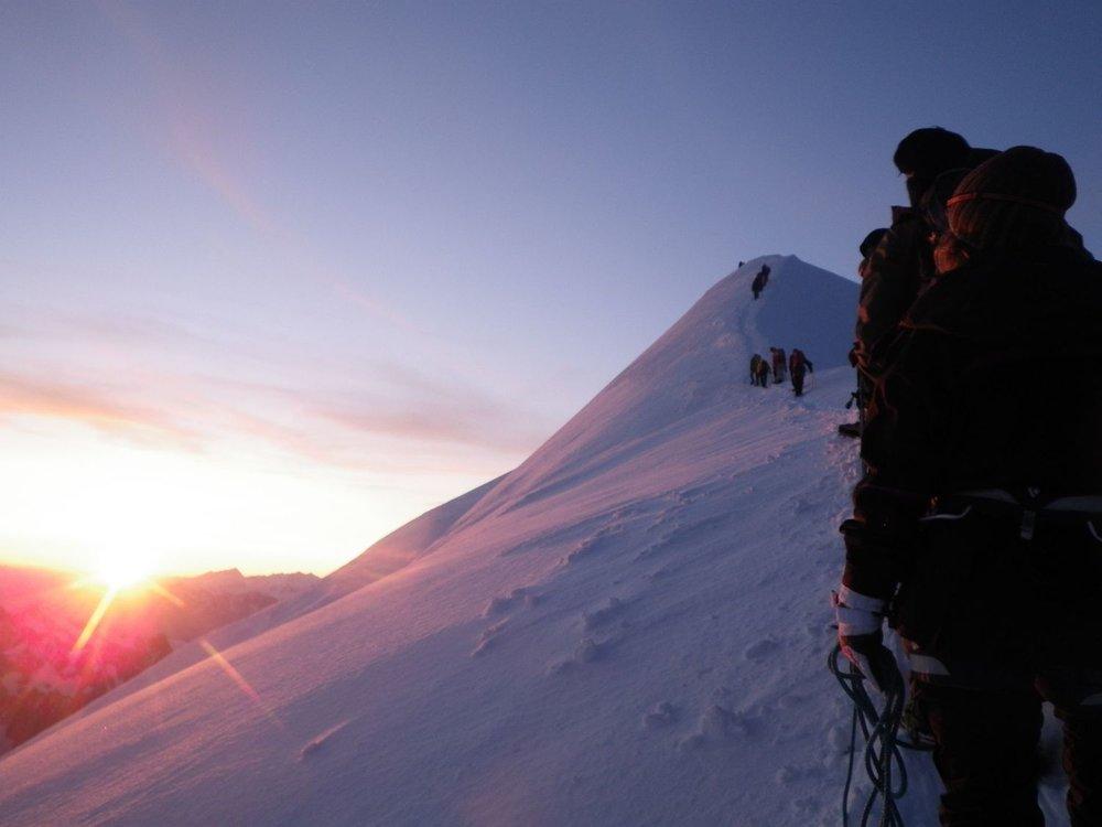 On the Bosses ridge on Mont Blanc