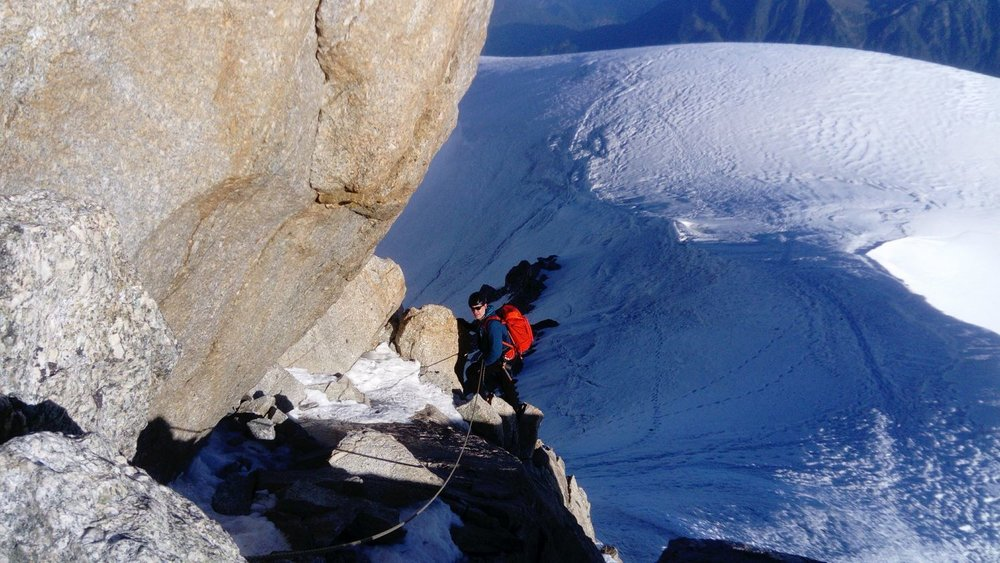 Nearing the summit on Mont Blanc du Tacul