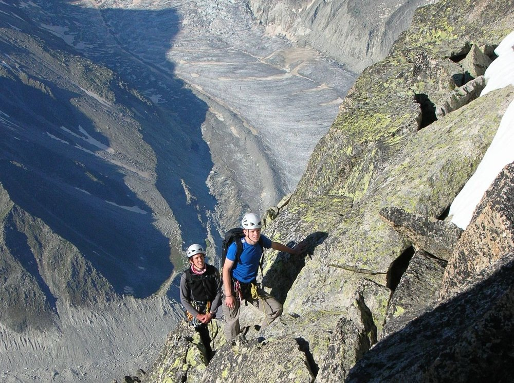 On the south ridge of the Aiguille de Moine with the Mer de Glace below