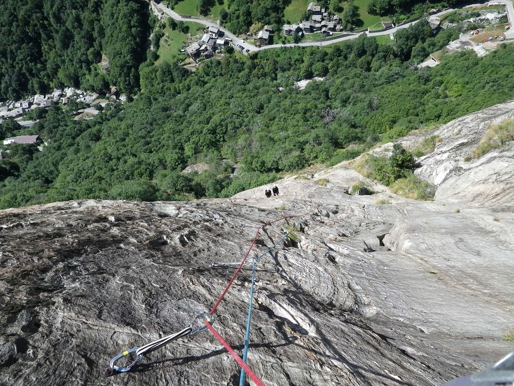 Rock climbing in the Val d'Aosta, Italy