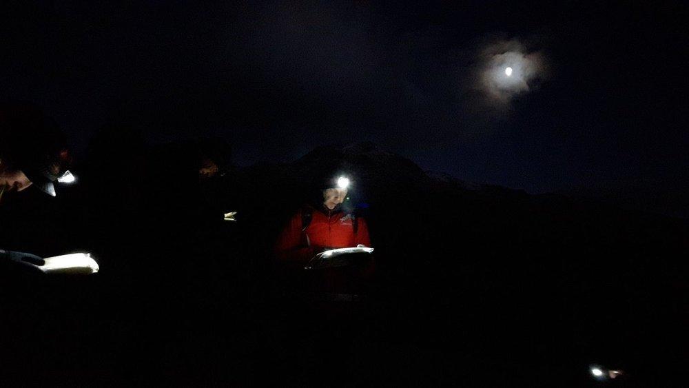 navigating at night - chris ensoll mountain guide