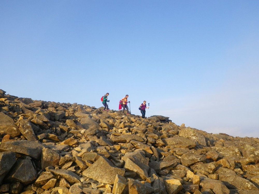 Classic Lakeland Mountains: leaving the summit of Scafell Pike - Chris Ensoll Mountain Guide