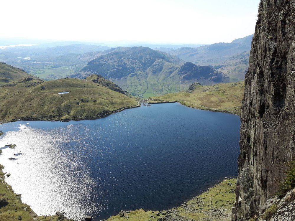 Looking down at Stickle Tarn from Pavey Ark, Langdale