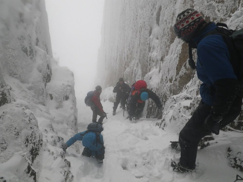 Scrambling in the Lake District mountains in winter - Chris Ensoll Mountain Guide