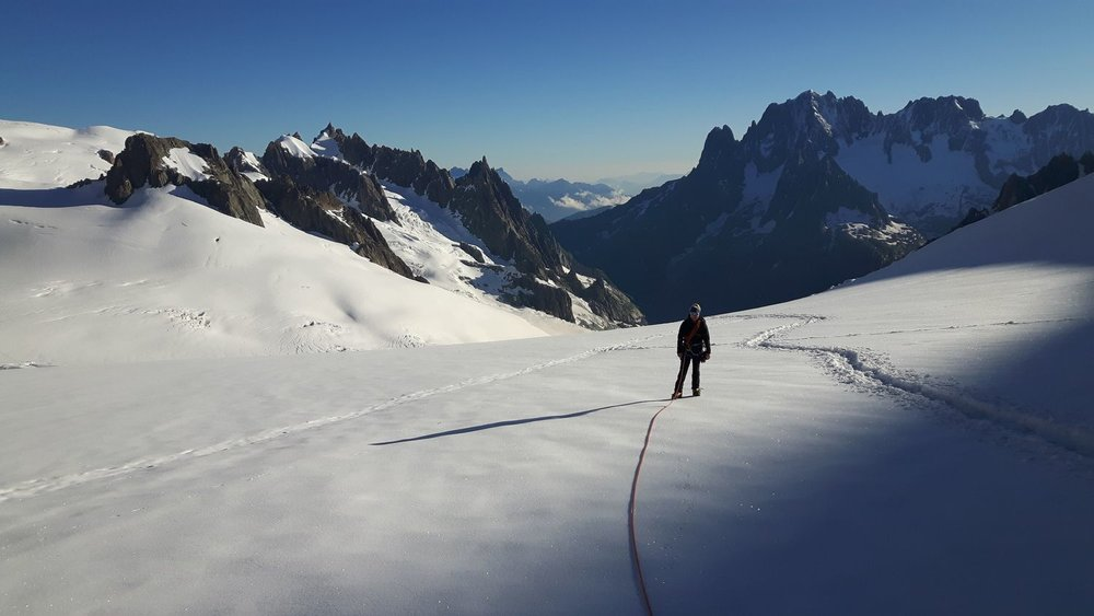 Looking down the Mer de Glace from the Col d'Entreves