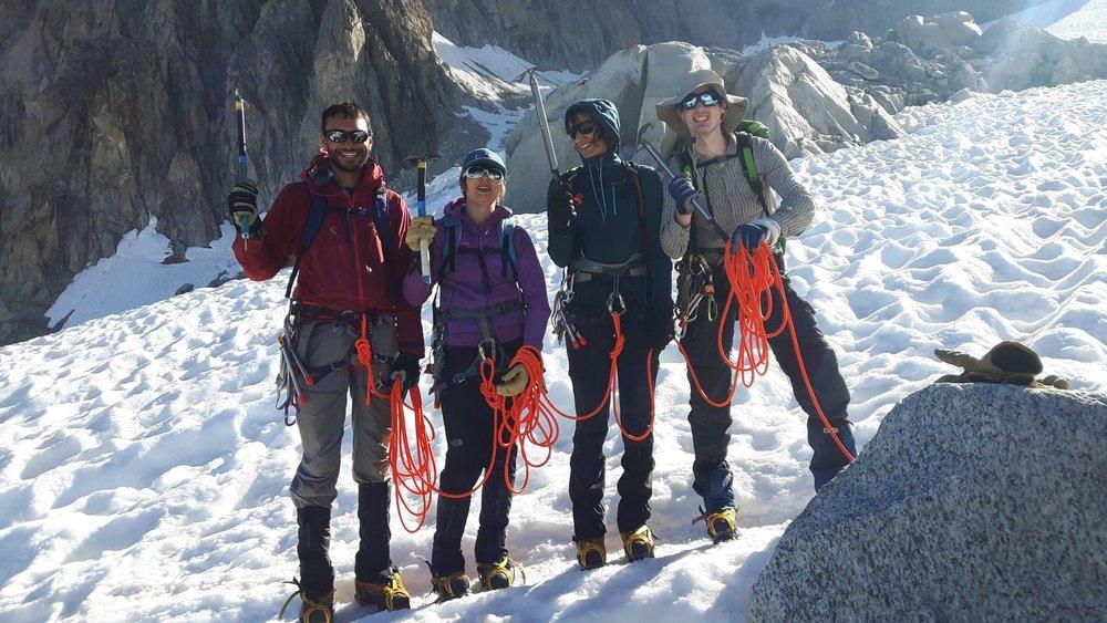 Happy team descending from the Aiguille du Tour