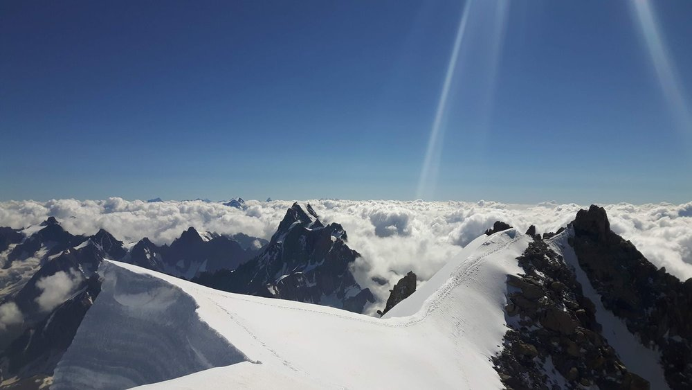 Looking towards Italy from the summit of Mont Blanc du Tacul