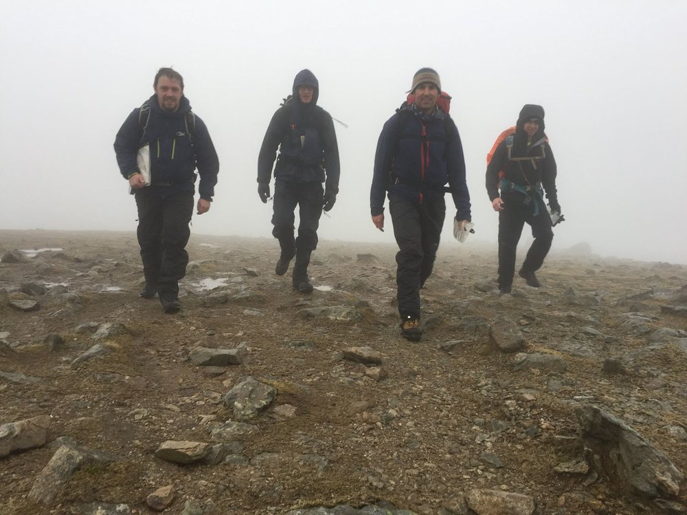 Four mountain walkers in the rain
