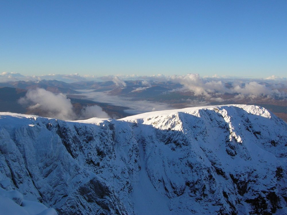 Looking towards the sea from the Ben Nevis plateau