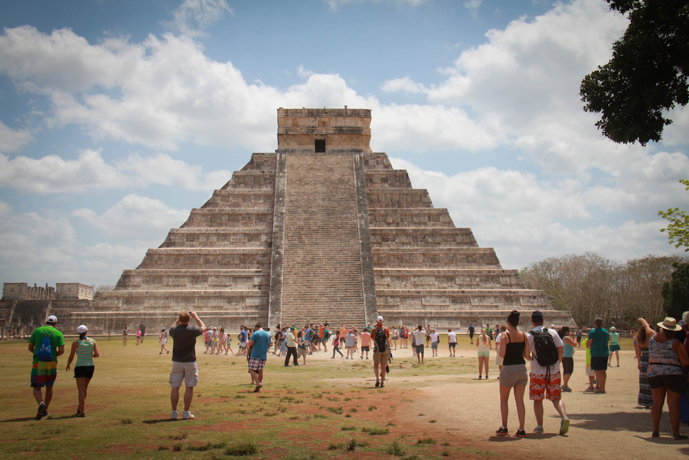 Chichen Itza is much busier once the tour buses arrive.