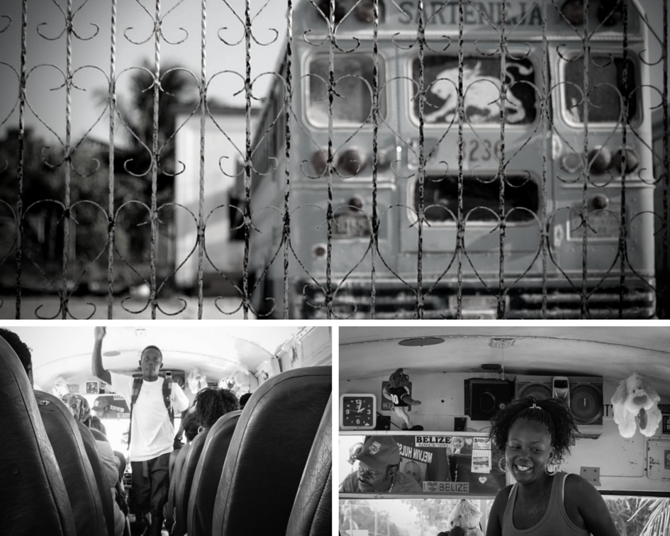 belize buses collage