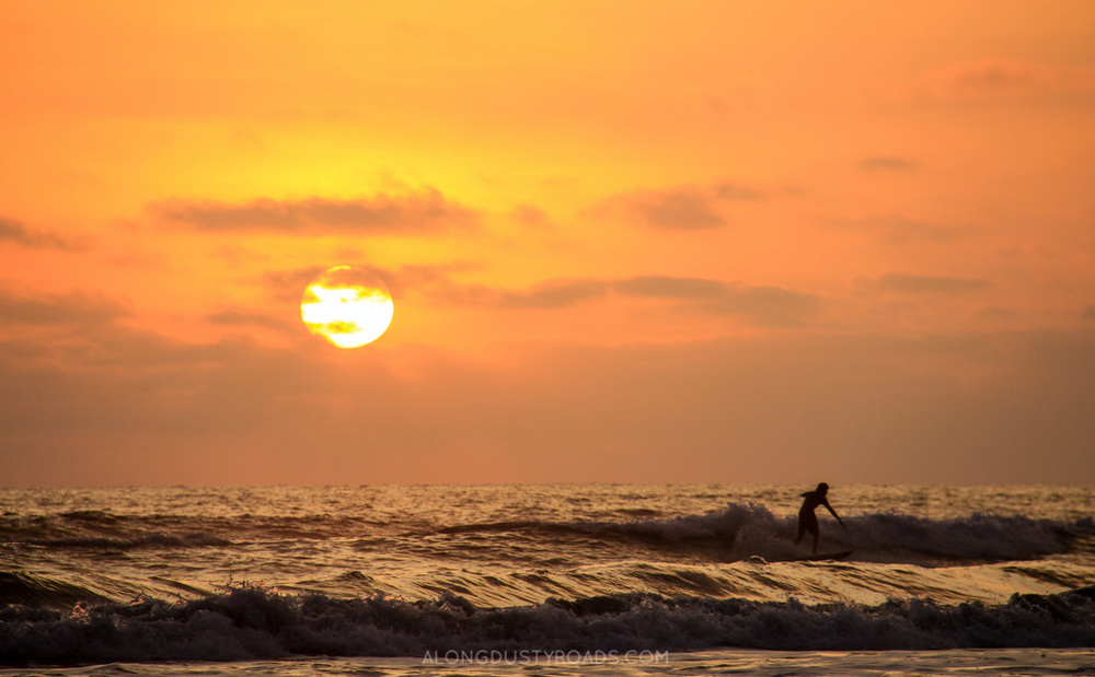 sunset surfing ayampe