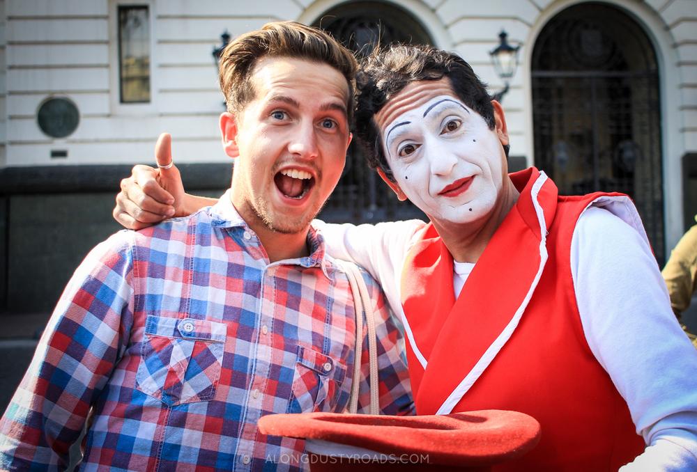 Mime artist in Plaza de las Armas - Santiago, Chile