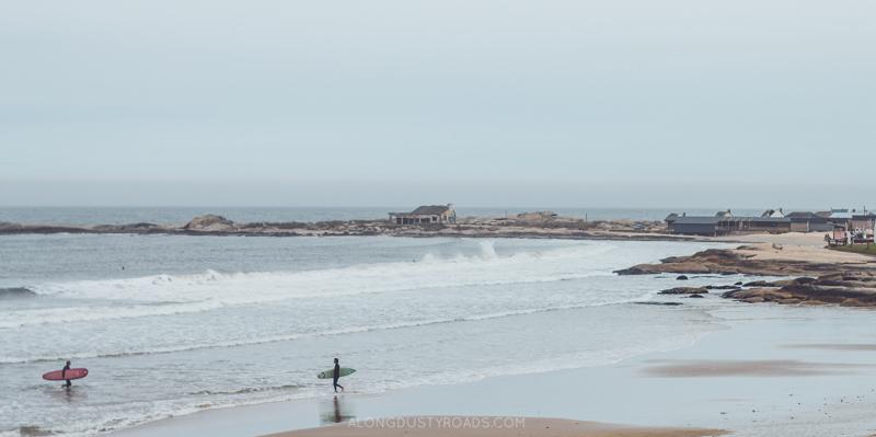 Surfers in Punta del Diablo, Uruguay