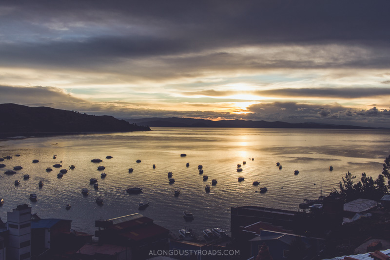 sunset over Lake Titicaca, Copacabana, Bolivia