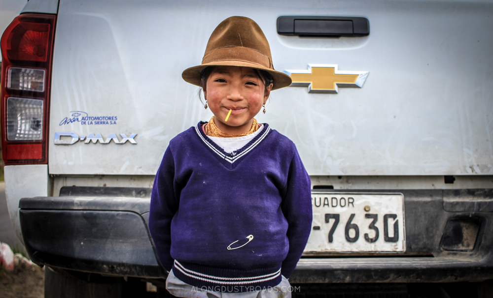 Not every local you meet will be as happy to see you as this little girl in Quilotoa, Ecuador.