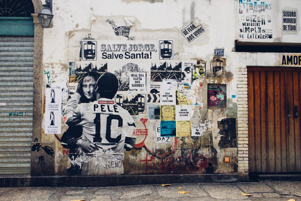 Pele and Mona Lisa Street Art, Rio de Janeiro