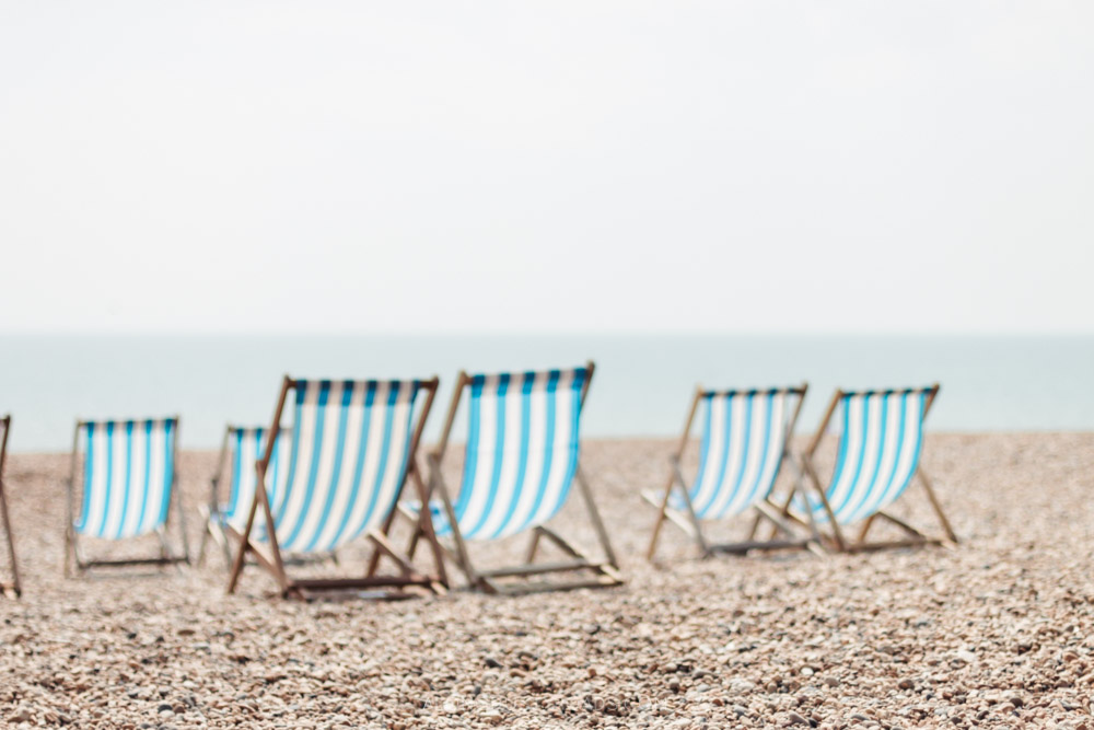 Brighton beach and stripey deckchairs