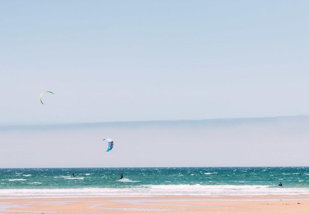 Kite surfing at Praia do Guincho, Cascais, Portugal