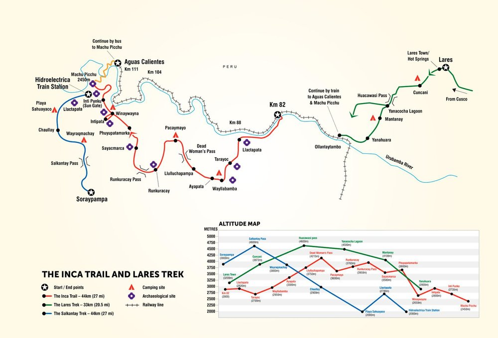 G Adventures Inca Trail Map Route