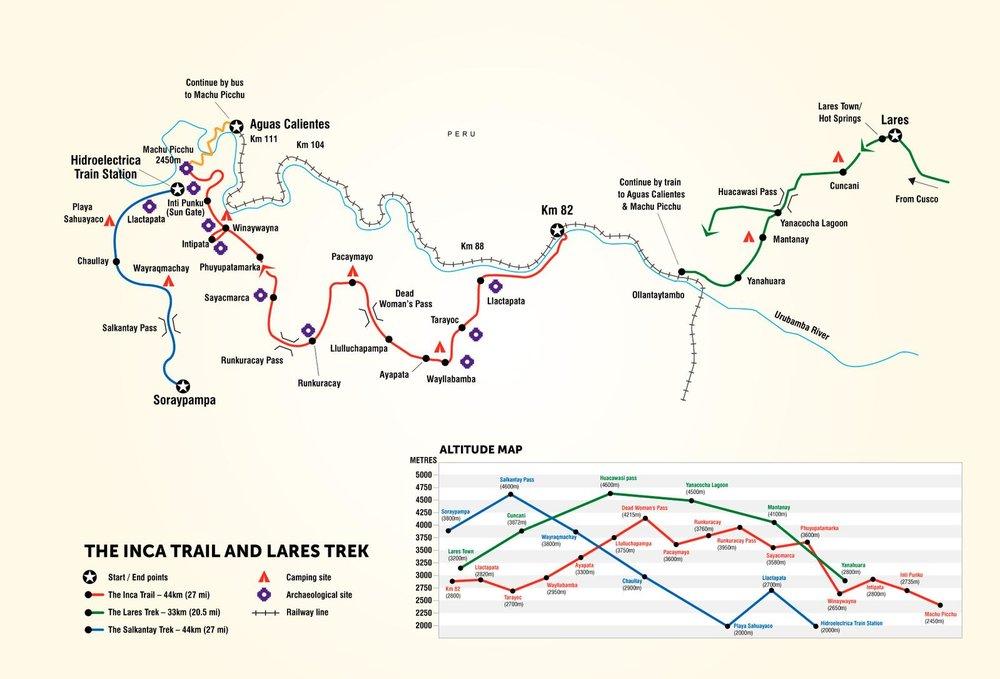 G Adventures Inca Trail Map Route