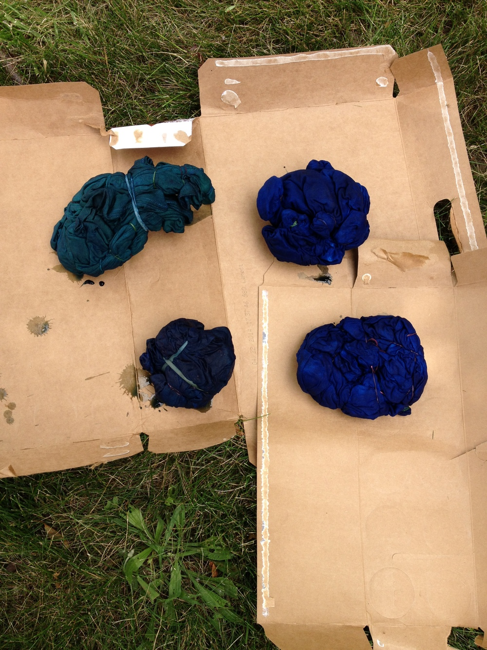 The indigo dye becomes more blue as it oxidizes.