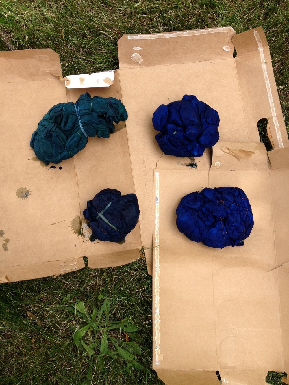 The indigo dye becomes more blue as it oxidizes.