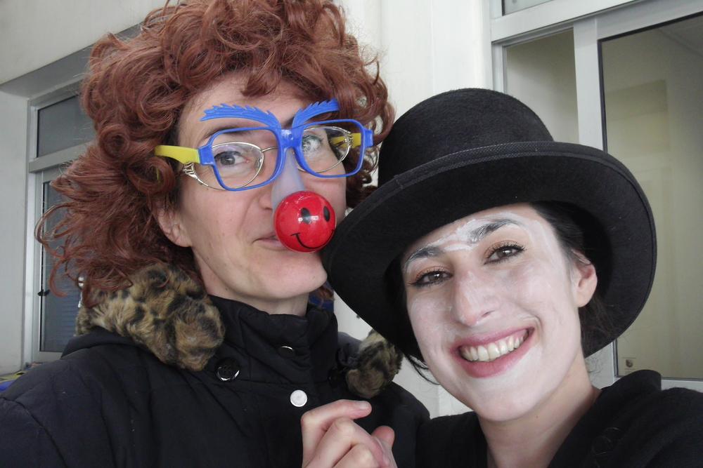 Shiran & a friend, Purim 2014