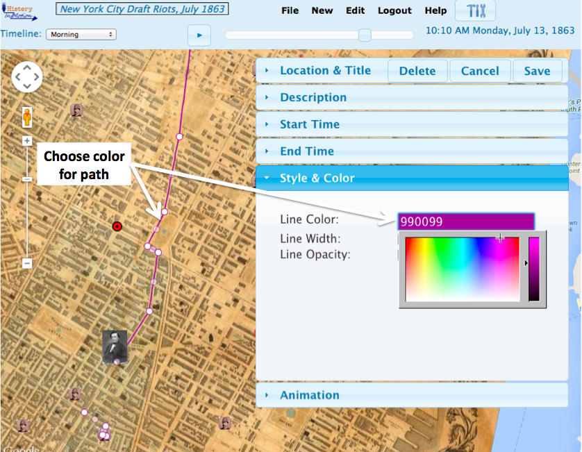 Color picker gives a rainbow of colors and shades for paths, areas, and area outlines.