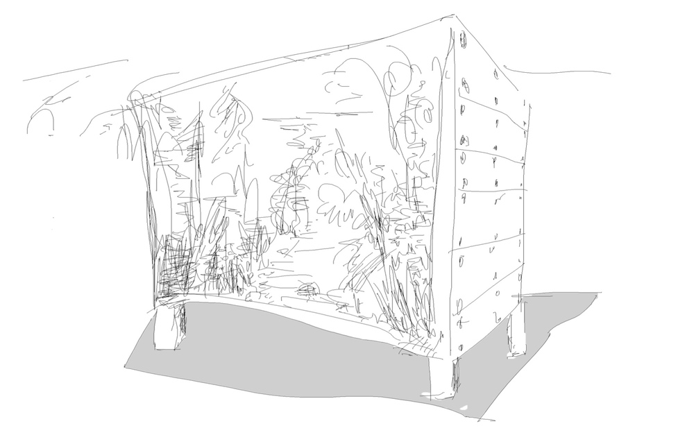 Early sketch for Cave Pavilion, RHS Chelsea Sophie Walker
