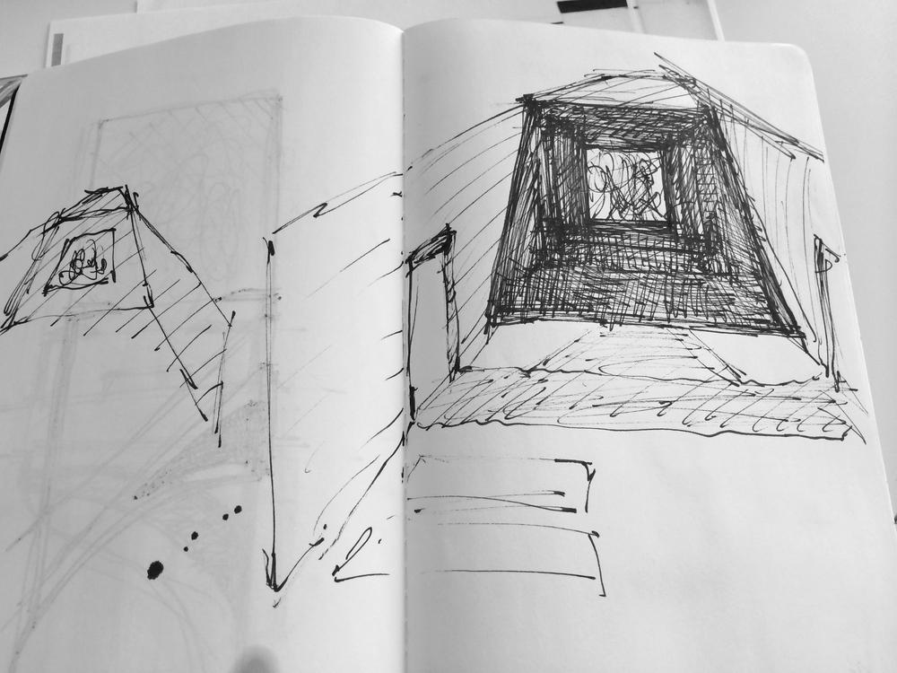 Sketchbook studies Sophie Walker Cave Pavilion RHS Chelsea