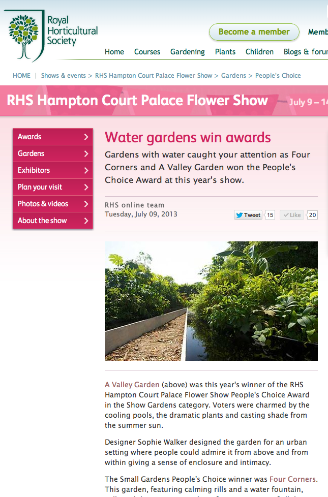 A Valley Garden wins People's Choice Award 2013 RHS Hampton Court Palace Flower Show